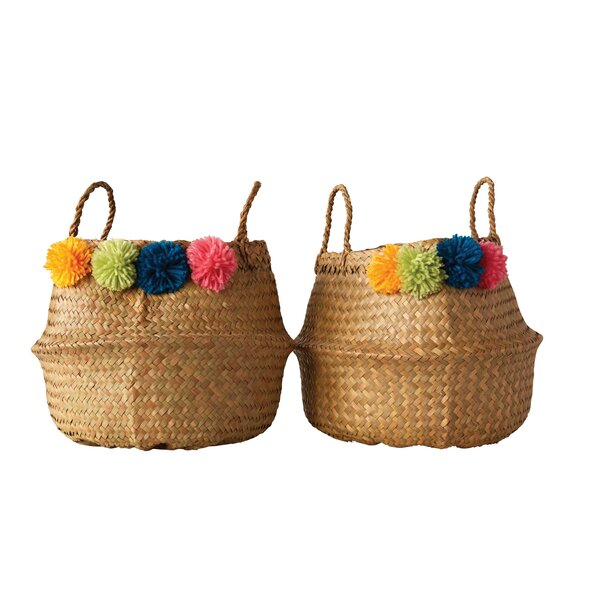 Palm Leaf Collapsible Basket by Bungalow Rose