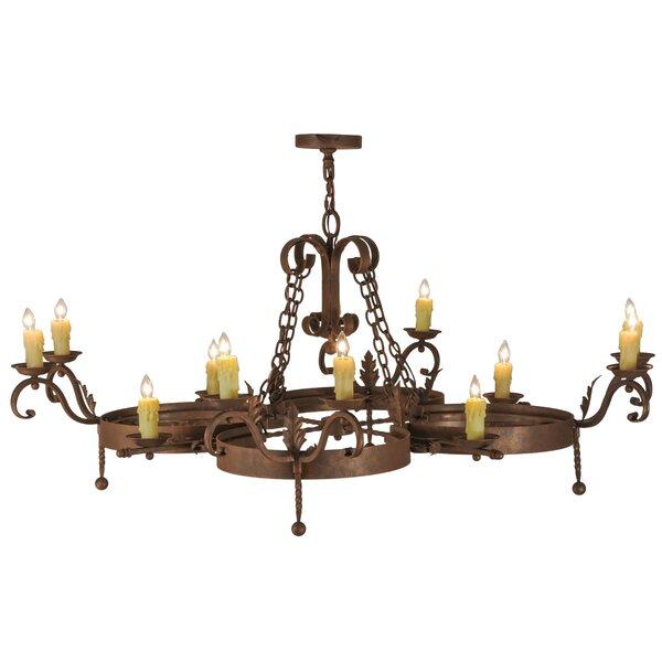 Elzira 12 - Light Candle Style Wagon Wheel Chandelier by Fleur De Lis Living Fleur De Lis Living
