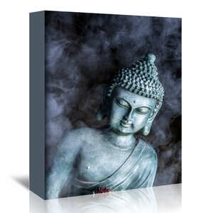 'Buddha With Smoke Symbol' Photographic Print on Wrapped Canvas by East Urban Home