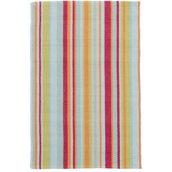 Clara Stripe Hand-Woven Cotton Red/Yellow Area Rug by Dash and Albert Rugs