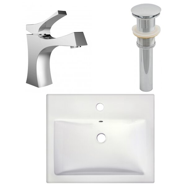 Anirudh Semi-Recessed Ceramic Rectangular Vessel Bathroom Sink with Faucet and Overflow