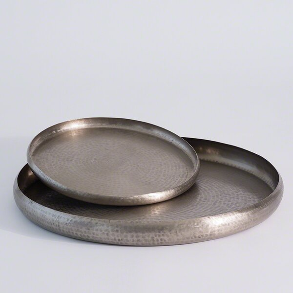 Antique Nickel Solid Offering Tray by Mistana