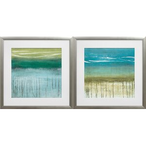 'Shoreline Memories I and II' by Heather McAlpine 2 Piece Framed Acrylic Painting Print Set by Star Creations