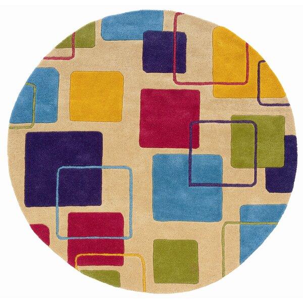 Leanne Ivory Geometric Squares Rug by Zoomie Kids