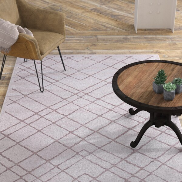 Basset Power-Loomed White Area Rug by Williston Forge