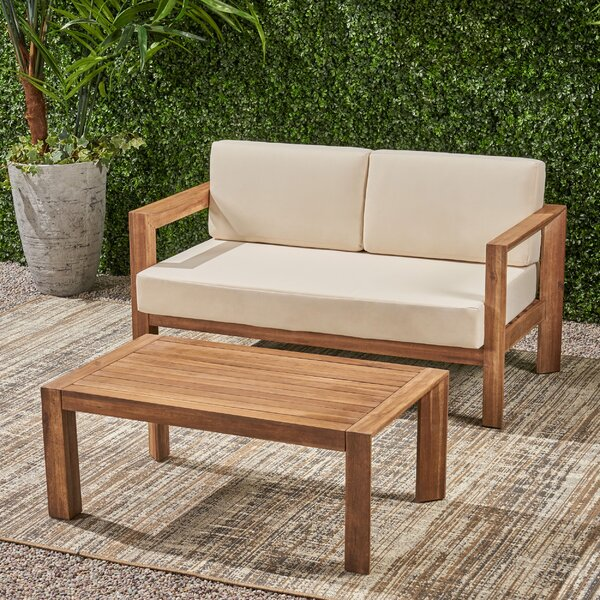 Cureton Outdoor 2 Piece Sofa Seating Group with Cushions by Gracie Oaks