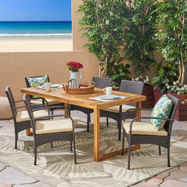 Deena 7 Piece Dining Set with Cushions by Bungalow Rose