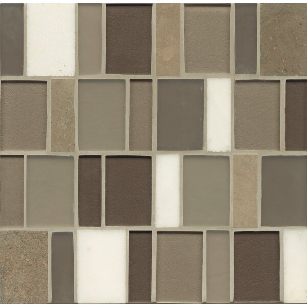 Remy Glass 12 x 12 Stone/Glass Blends Mosaic Brick in Grove by Grayson Martin
