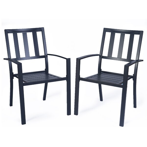 Corsham Stacking Patio Dining Chair with Cushion (Set of 2) by 17 Stories