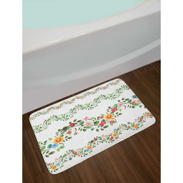 Horizontal Foliage Pattern Ornamental Abstract Design Vintage Style Romance Bath Rug by East Urban Home