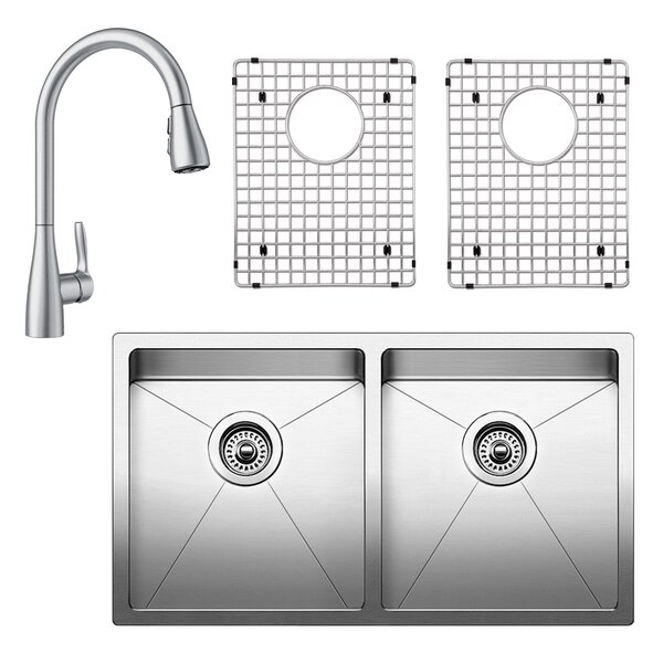 Quatrus 32 L x 18 W Double Basin Undermount Kitchen Sink with Faucet, Sink Grid and Sink Strainer by Blanco
