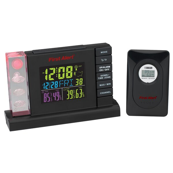 Radio Controlled Weather Station Alarm Clock with Wireless Sensor by First Alert