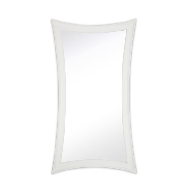 Large Contemporary Warped Modern White Lacquer Wall Mirror by Majestic Mirror