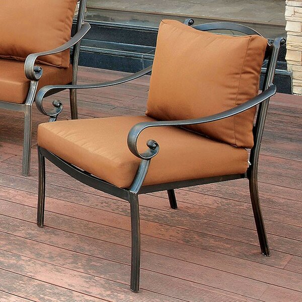 Villalobos Patio Chair with Cushion by Fleur De Lis Living