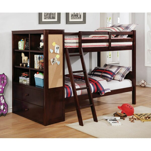 Moraine Twin over Twin Bunk Bed with Drawers and Bookcase by Harriet Bee