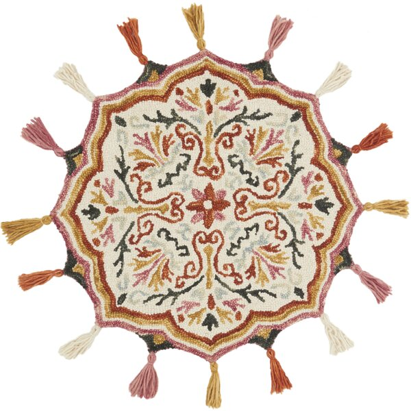 Rashida Hand-Hooked Wool Ivory/Sunset Area Rug  by Bloomsbury Market