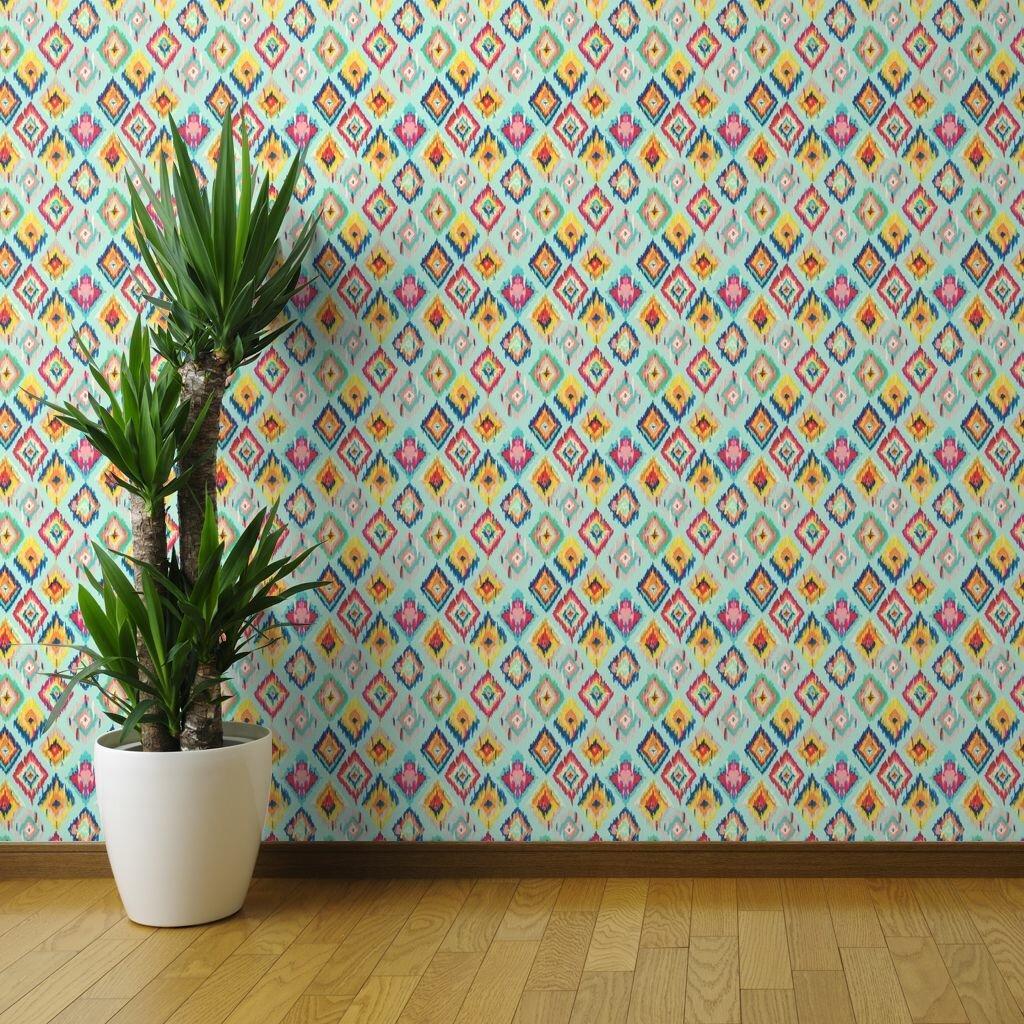 Ebern Designs Bright Ikat Wallpaper Ikat Hand Painted Ikat Aqua