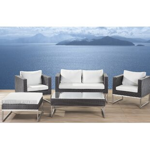 5 Piece Rattan Sofa Set with Cushions By Home Etc