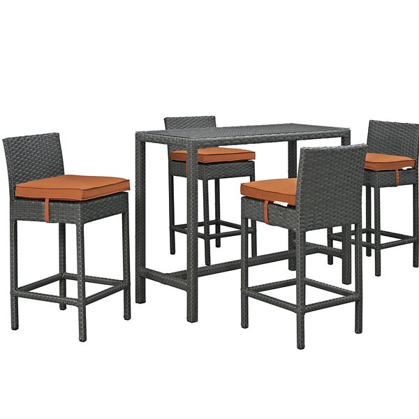 Tripp 5 Piece Bar Height Dining Set with Cushion by Brayden Studio