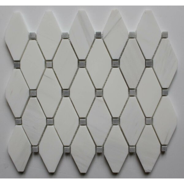 2 x 2 Marble Mosaic Tile in Bianco Dolomite with Gray Dot by Ephesus Stones
