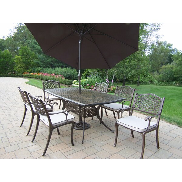 Oxford Mississippi 7 Piece Dining Set with Cushions and Umbrella by Oakland Living