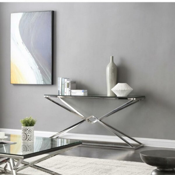 Coble Rectangular Glass And Stainless Steel Console Table By Orren Ellis