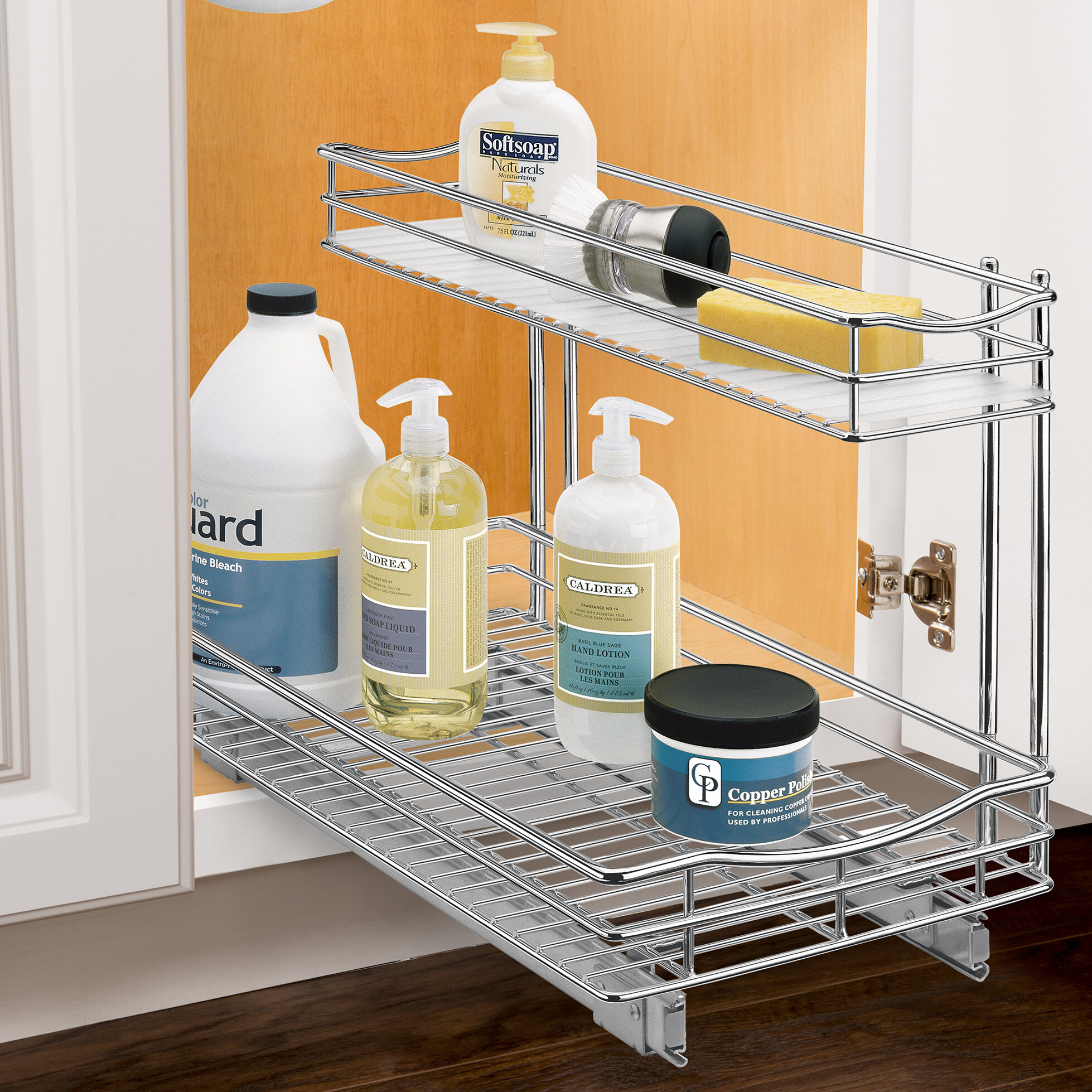 shelf tier p organizers organizer cookware rev cabinet out wire cr two corner a chrome pull basket blind in