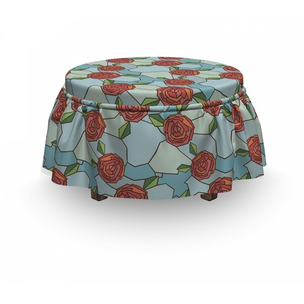 Stained Glass Rose Ottoman Slipcover (Set Of 2) By East Urban Home