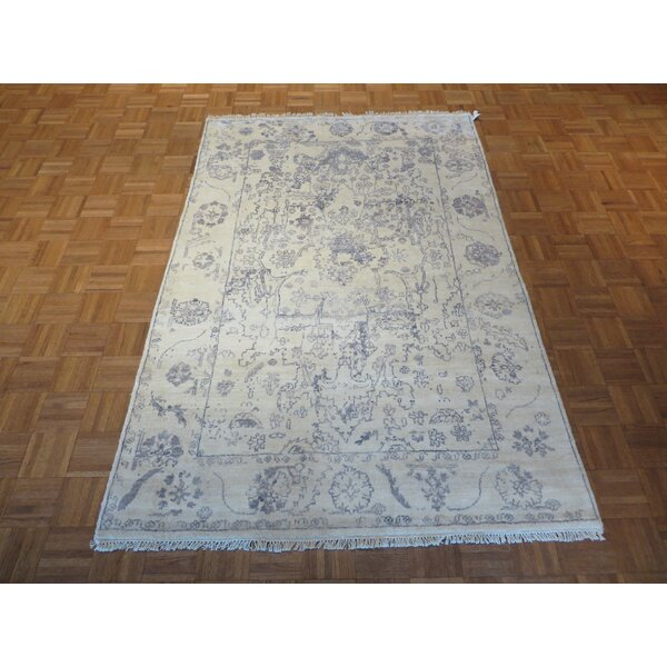 One-of-a-Kind Josephson Oushak Hand-Knotted Ivory/Sky Blue Area Rug by Canora Grey