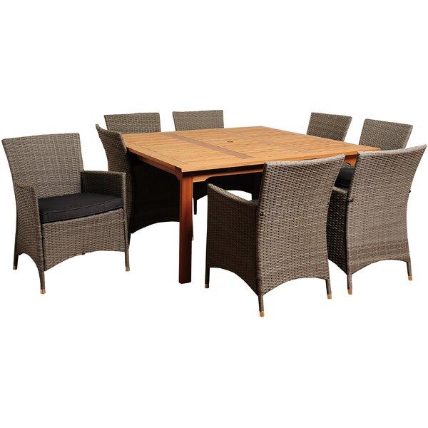 Brighton 9 Piece Teak Dining Set with Cushions