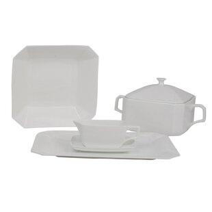 Octago Square Bone China Special Serving 5 Piece Dinnerware Set By Shinepukur Ceramics USA, Inc.