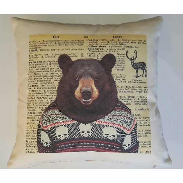 Bear in Sweater Cotton Throw Pillow by French Laundry Home