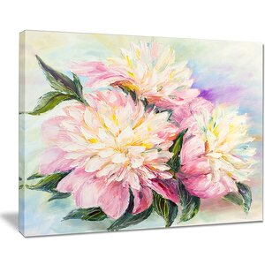 Blooming Pink Peonies Floral Painting Print on Wrapped Canvas by Design Art