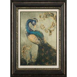 Birds 'Peacock on Sage II' Framed Painting Print by Ashton Wall Décor LLC