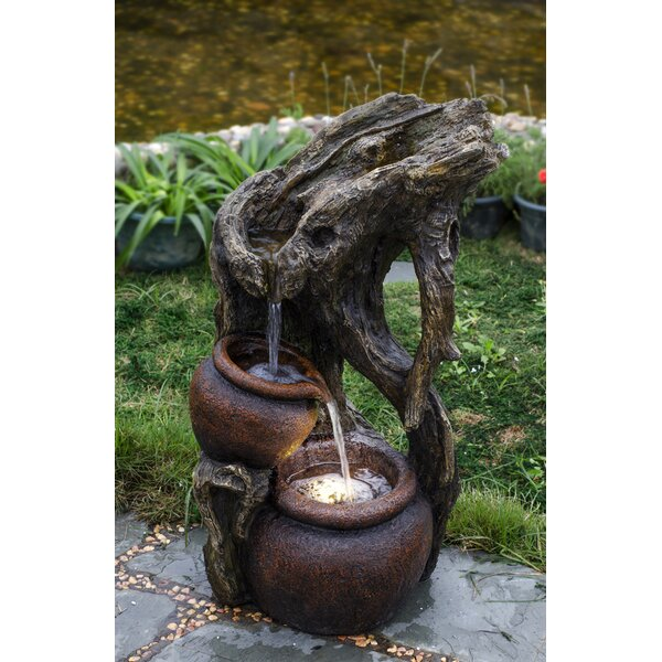 Resin/Fiberglass  Tree Trunk and Urns Water Fountain with LED Light by Jeco Inc.