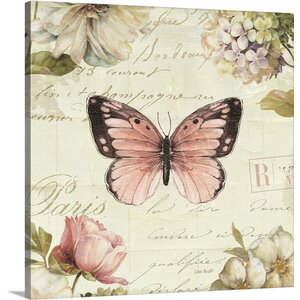 'Marche de Fleurs Butterfly I' by Lisa Audit Graphic Art on Canvas by Great Big Canvas