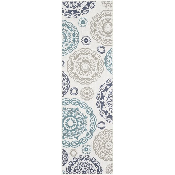 Dutcher Medallion Teal/Charcoal Indoor/Outdoor Area Rug by Bungalow Rose