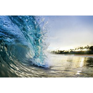 'Curling Wave' Photographic Print on Wrapped Canvas by 3 Panel Photo