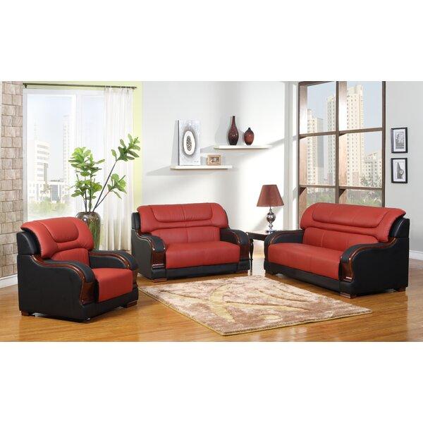 Cahlil Leather 3 Piece Living Room Set by Orren Ellis Orren Ellis