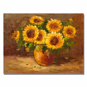 Sunflowers Still Life Painting Print on Rolled Wrapped Canvas by Trademark Fine Art