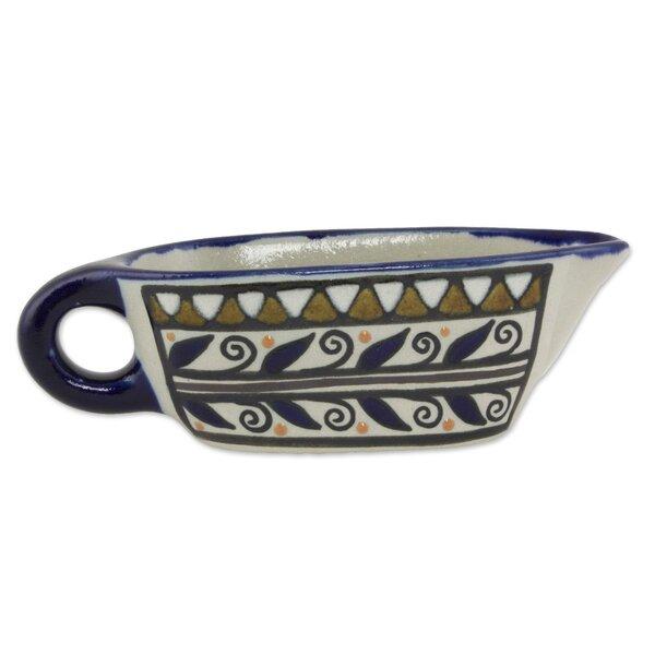 Aztec Motif Ceramic 5 oz. Gravy Boat by Novica