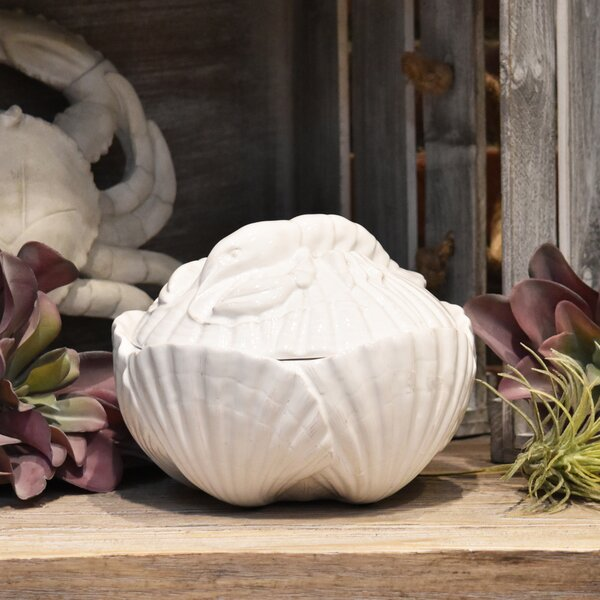Seashell and Lobster 1 qt. Storage Jar by Highland Dunes