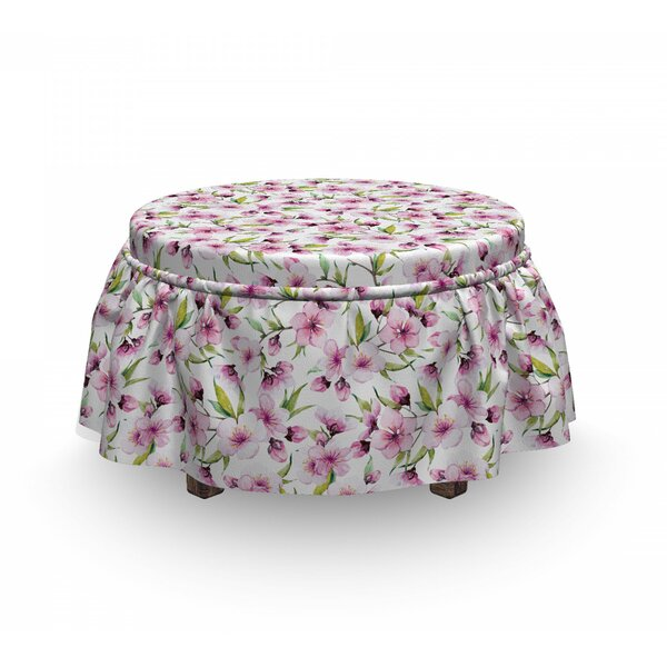 Aquarelle Flowers Ottoman Slipcover (Set Of 2) By East Urban Home