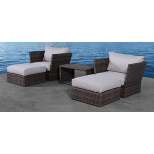 Perseus 5 Piece Rattan 2 Person Seating Group with Cushions By Highland Dunes