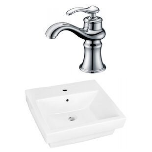 Affordable Price Ceramic Rectangular Vessel Bathroom Sink with Faucet and Overflow ByAmerican Imaginations