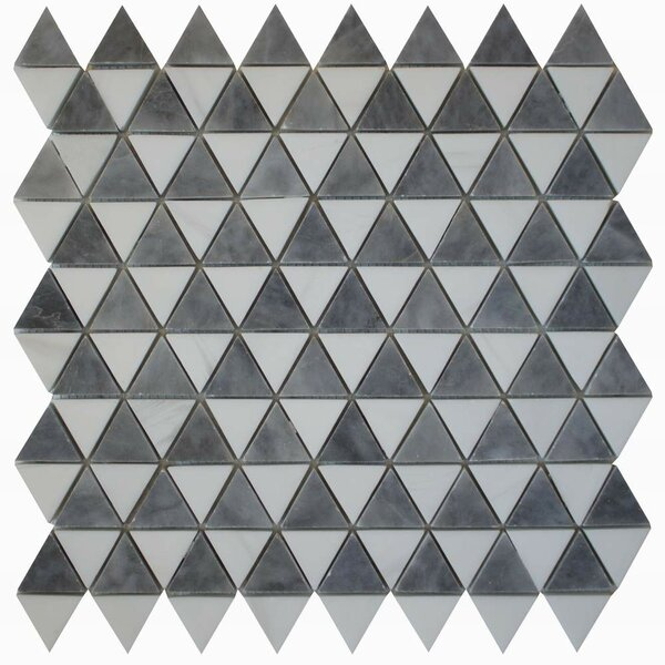 Diamantes 0.38 x 0.38 Marble Mosaic Tile in White/ Bardiglio by Ephesus Stones