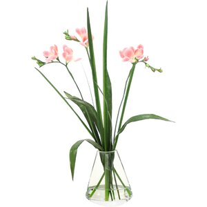 Waterlook Freesia with Grass in Rocker Vase
