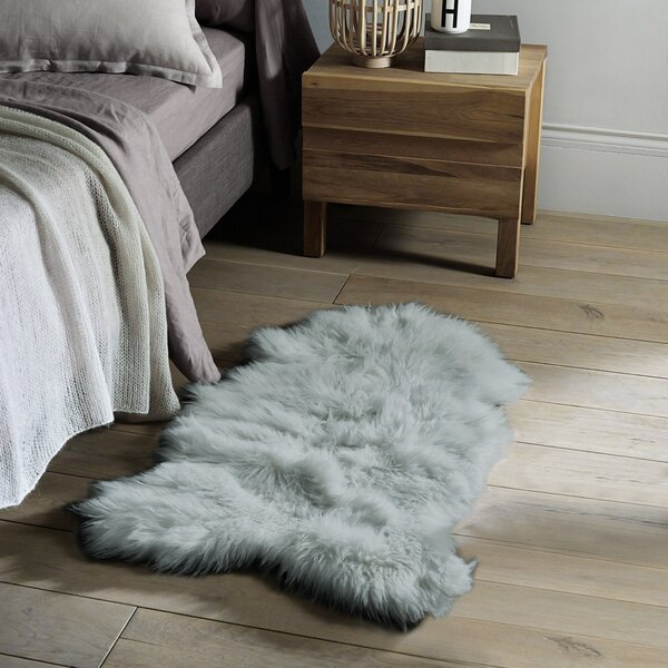 Timmons Faux Sheepskin Gray Area Rug by Everly Quinn