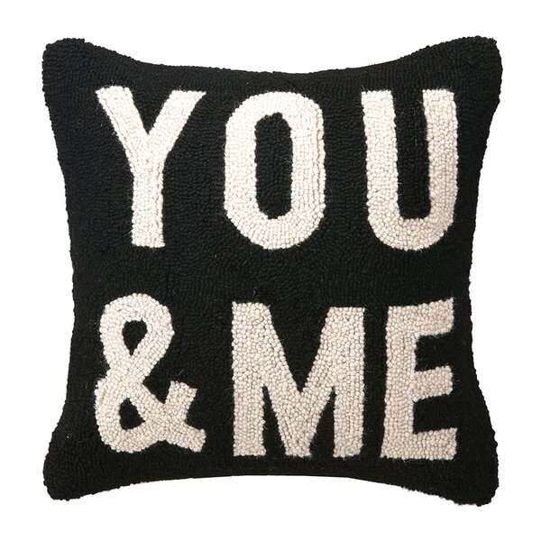 You & Me Square Hook Wool Throw Pillow by Peking Handicraft