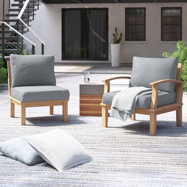 Anthony Outdoor Teak 2 Piece Patio Chair Set with Cushions by Foundstone